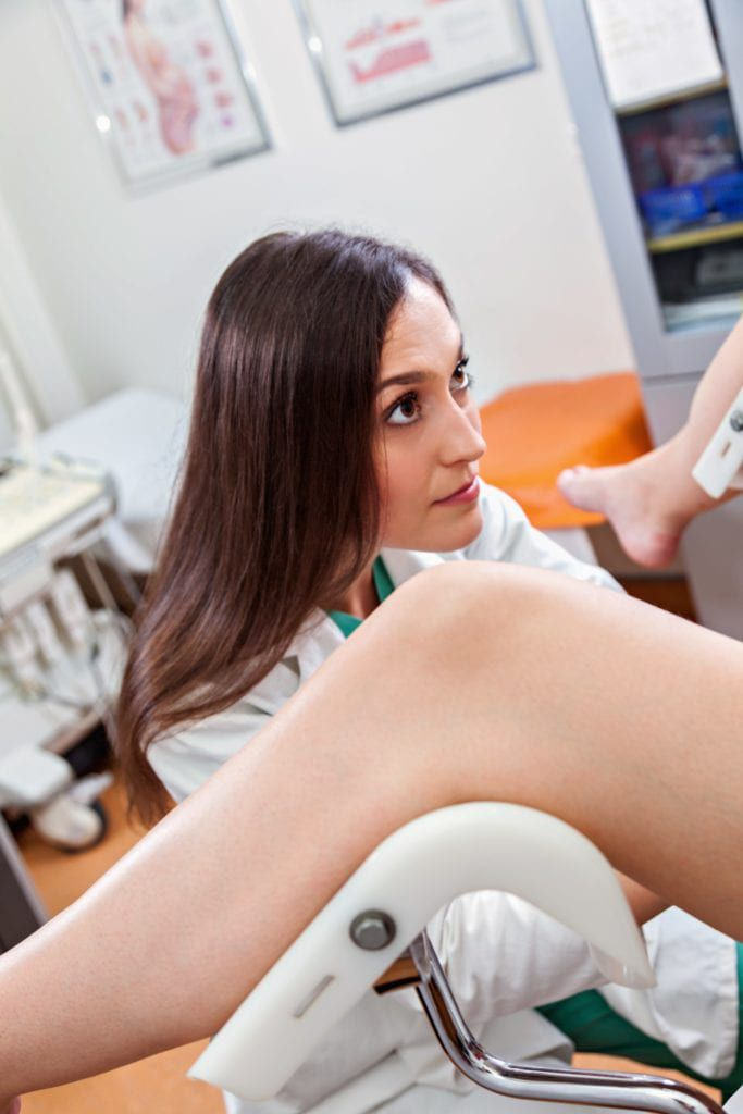 gynecologist performing a pelvic exam